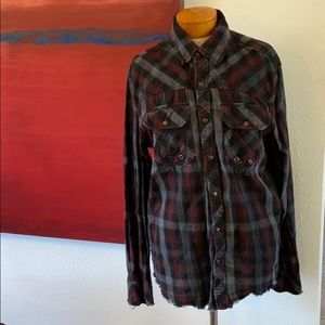 Affliction live fast snap front plaid longsleeve